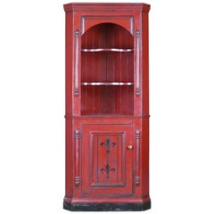 Vintage, Corner Cabinet, Late 20th Century, Painted, Pine Cupboard