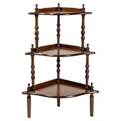 Vintage Corner Oak Standing Shelf