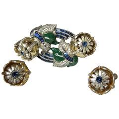 Vintage Coro Duette Floral Trembler Brooch/Fur-Clip & Earrings Set