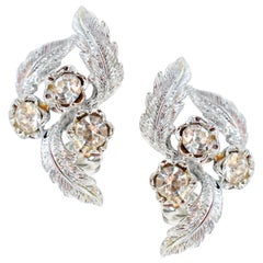 Vintage Coro Silver Rhinestone Leaf Earrings, circa 1950s