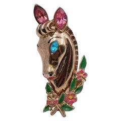 Vintage Coro Single Horse Brooch With Rhinestones 1940's