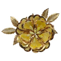 Vintage CoroCraft Yellow Enamel Flower Brooch 1950's