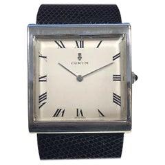 Vintage Corum Buckingham Large Sterling Mechanical Wristwatch