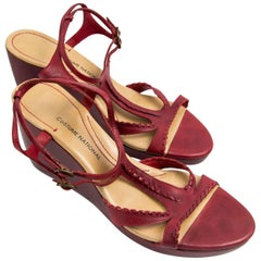 Vintage Costume National Italy Red Leather Shoes Size 40