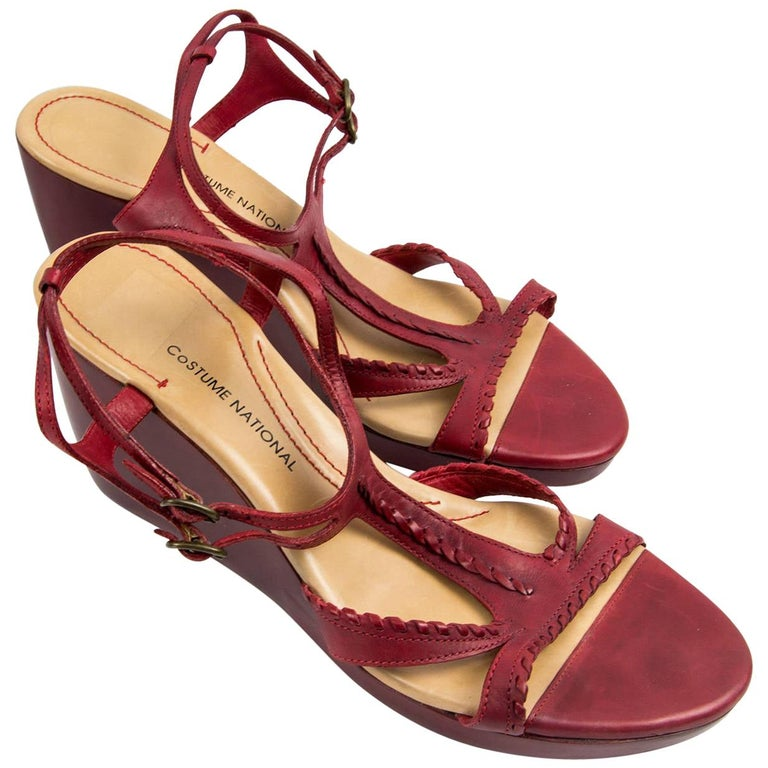 Vintage Costume National Italy Red Leather Shoes Size 40 For Sale