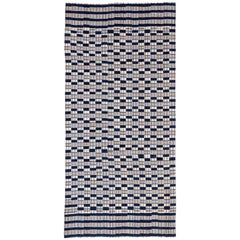 Vintage Cotton Blue and White Man's Blanket Wrap from West Africa