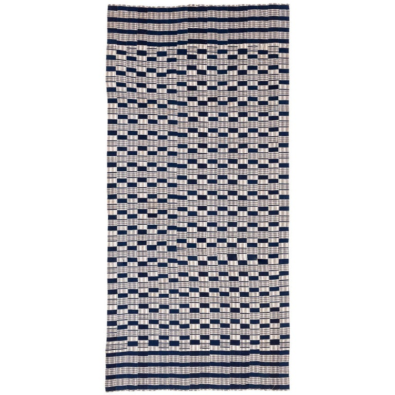 Vintage Cotton Blue and White Man's Blanket Wrap from West Africa For Sale