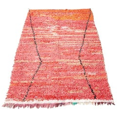 Vintage Cotton Boucherouite Rug in Burnt Tones of Red and Orange, Morocco, 1980s