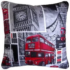 "Vintage Cushion ""London"" Featuring the Iconic London Bus Pillow, Made in London"