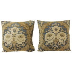 Vintage Cotton Cut Velvet Blue and Yellow Floral Decorative Pillows