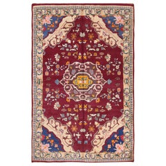 Vintage Cotton Indian Agra Rug. Size: 5 ft x 7 ft 10 in (1.52 m x 2.39 m)