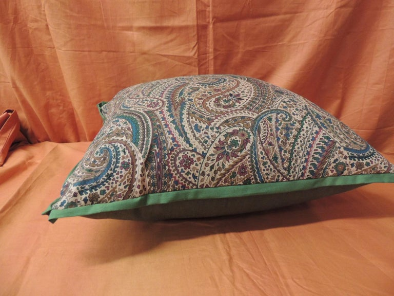 Anglo Raj Vintage Cotton Printed Paisley Decorative Pillow For Sale