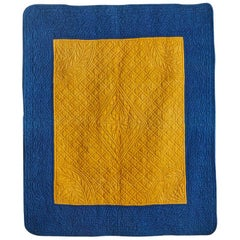 Vintage Cotton Quilt in Indigo and Saffron Yellow, French, Early 19th Century
