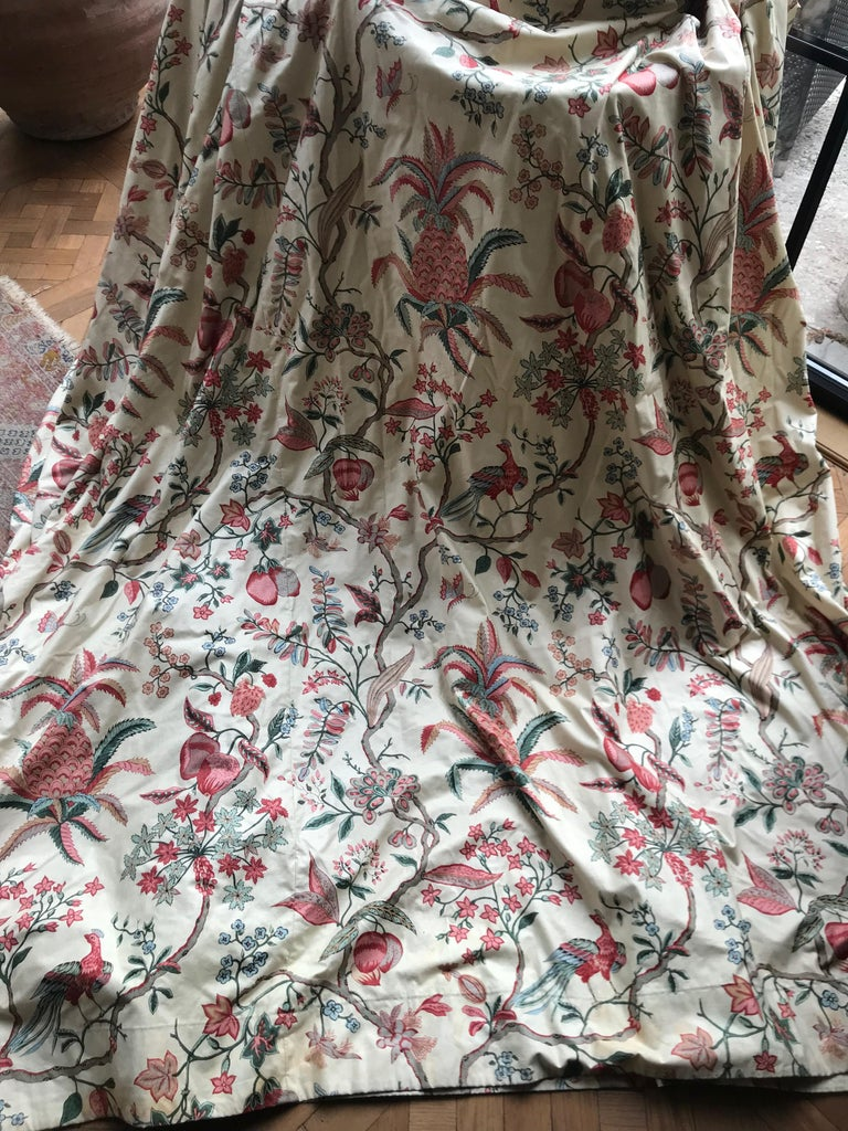 Vintage French cotton curtain panel in the