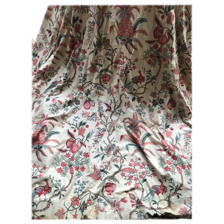 """Vintage Cotton """"Toile De Jouy Indiennes"""" Fabric in the Style of Oberkampf For Sale"""