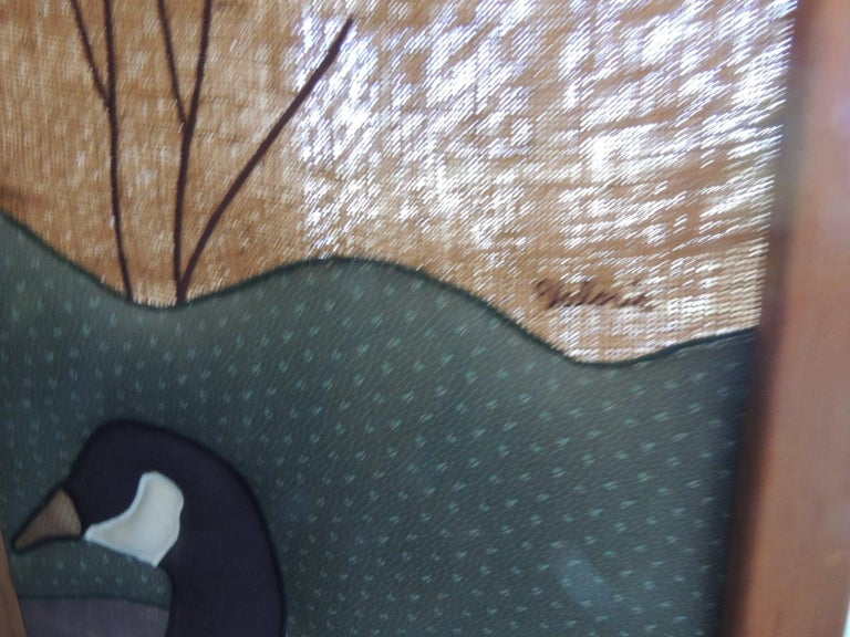 Hand-Crafted Vintage Country Quilt '3' Panel Screen with Quilted Geese For Sale