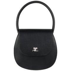 "Vintage COURREGES Black Pebble Leather Structured ""AC"" Logo Handbag Purse NOS"