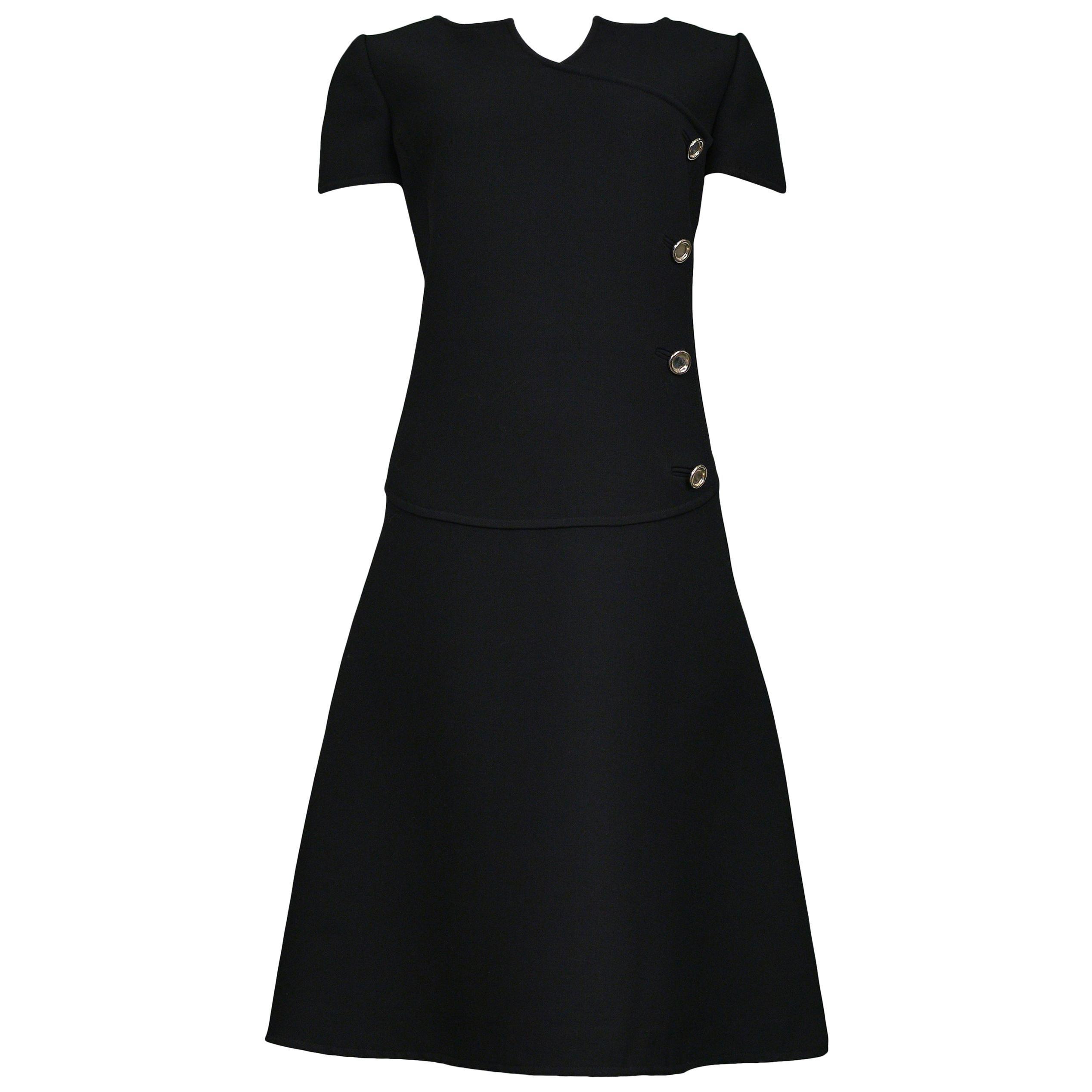 Vintage Courreges Black Wool Mod Day Dress