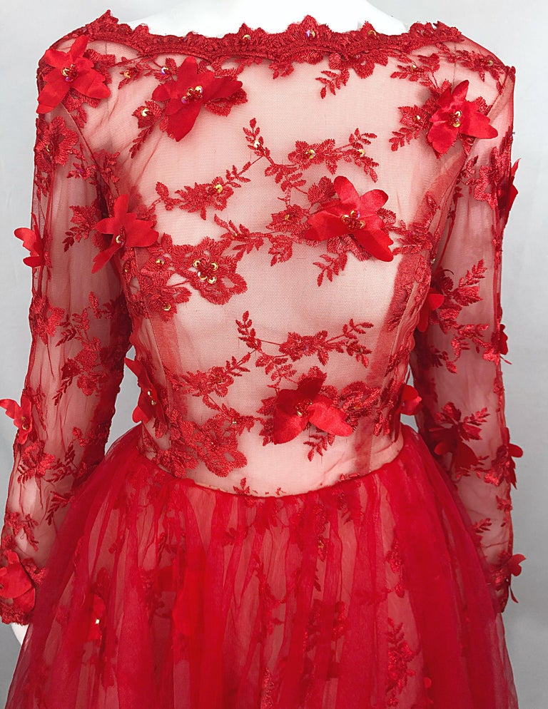 Vintage Couture 1990s Does 1950s Semi Sheer Sz 10 / 12 Lipstick Red Sequin Dress For Sale 7