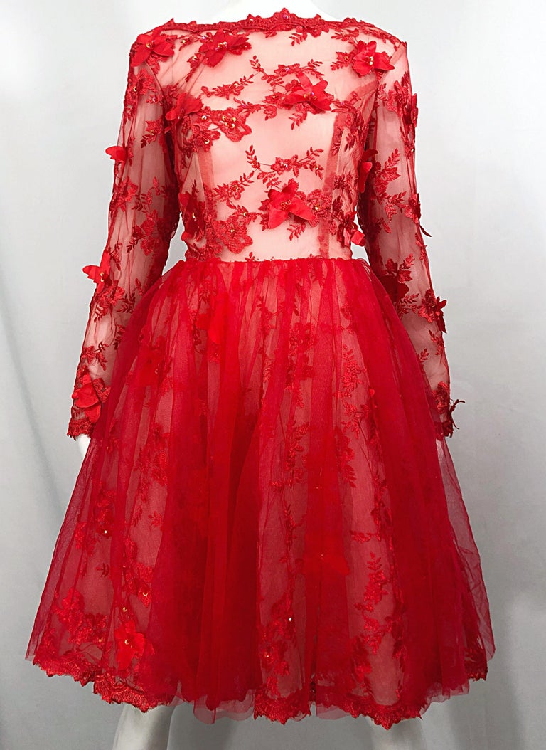 Vintage Couture 1990s Does 1950s Semi Sheer Sz 10 / 12 Lipstick Red Sequin Dress For Sale 8