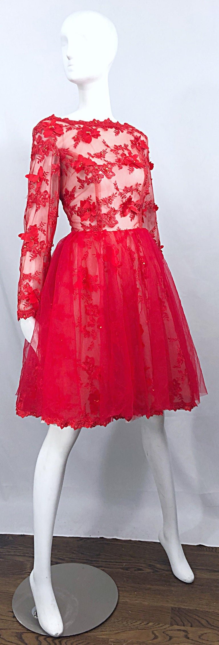 Vintage Couture 1990s Does 1950s Semi Sheer Sz 10 / 12 Lipstick Red Sequin Dress For Sale 10