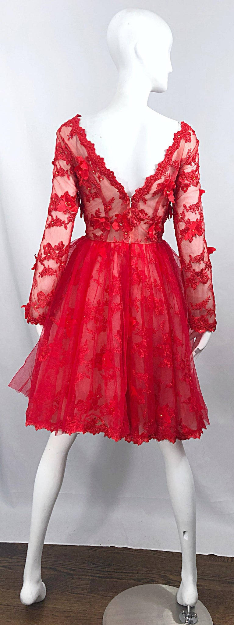 Vintage Couture 1990s Does 1950s Semi Sheer Sz 10 / 12 Lipstick Red Sequin Dress In Excellent Condition For Sale In Chicago, IL