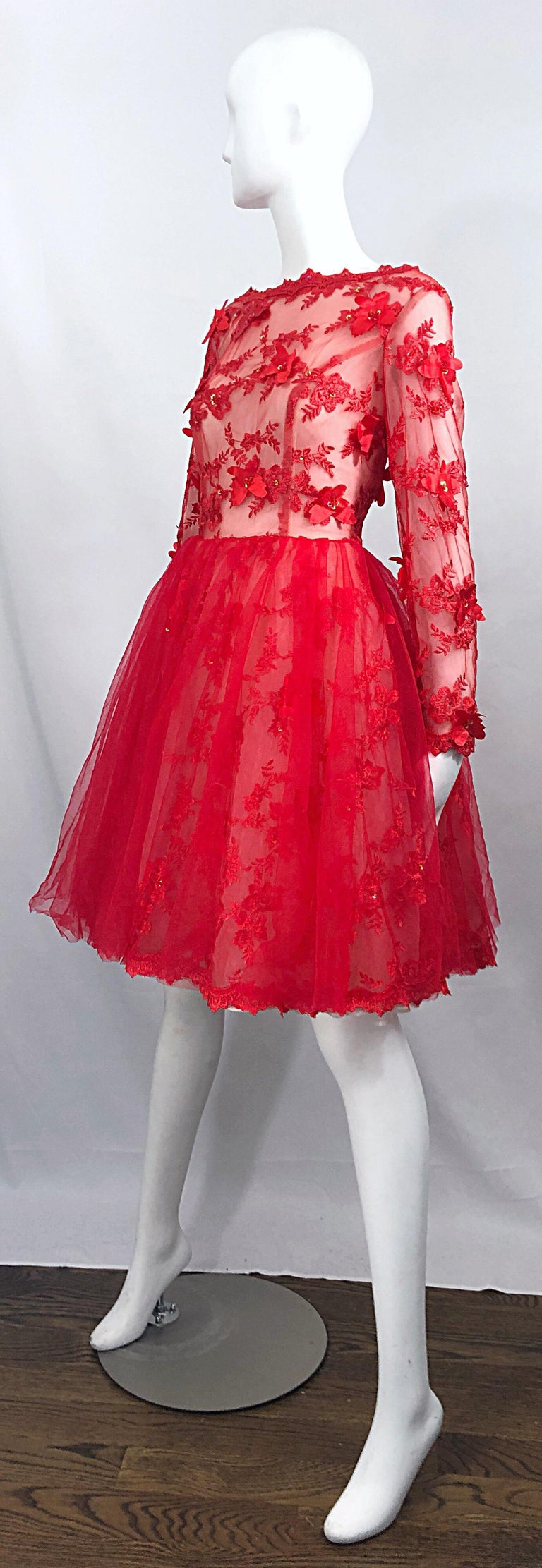 Women's Vintage Couture 1990s Does 1950s Semi Sheer Sz 10 / 12 Lipstick Red Sequin Dress For Sale