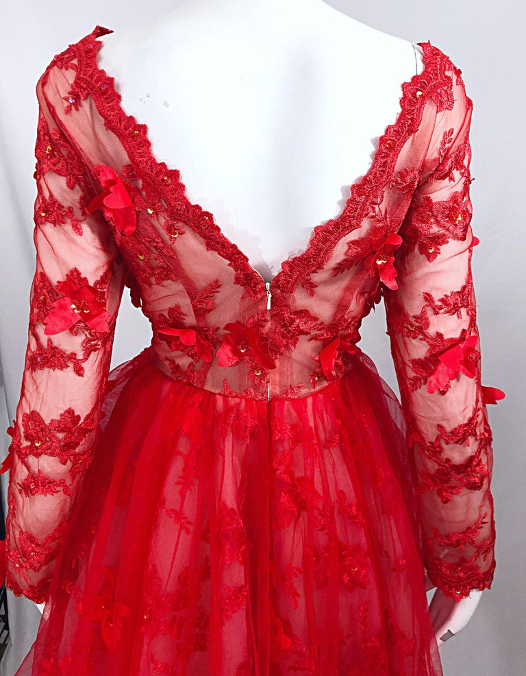 Vintage Couture 1990s Does 1950s Semi Sheer Sz 10 / 12 Lipstick Red Sequin Dress For Sale 2