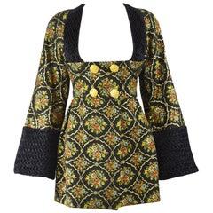 Vintage Couture Brocade Hand Smocked Silk Frock Coat, 1980s