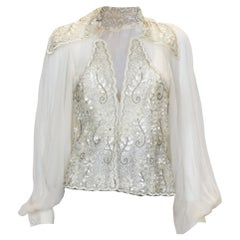 Vintage Couture Silk Chiffon and Bead Evening Top