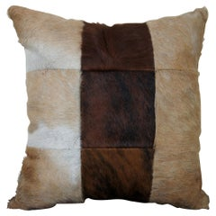 Vintage Cow Hide and Leather Patchwork Throw Pillow Southwest