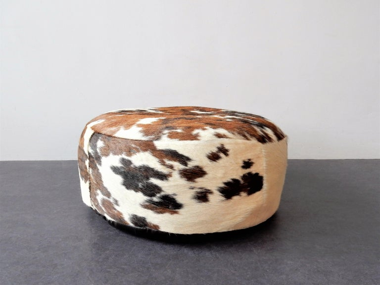 Mid-Century Modern Vintage Cowhide Leather Pouf, 1970s