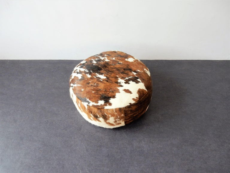 Late 20th Century Vintage Cowhide Leather Pouf, 1970s