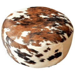 Vintage Cowhide Leather Pouf, 1970s
