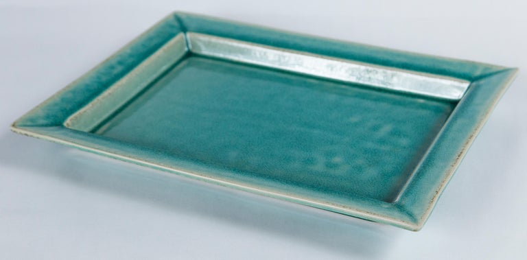 Vintage crackle-glaze ceramic tray, by Jars, France, mid-20th century. A signature beautiful turquoise blue crackle-glaze. Jars Ceramistes was founded in 1857 by Pierre Jars.