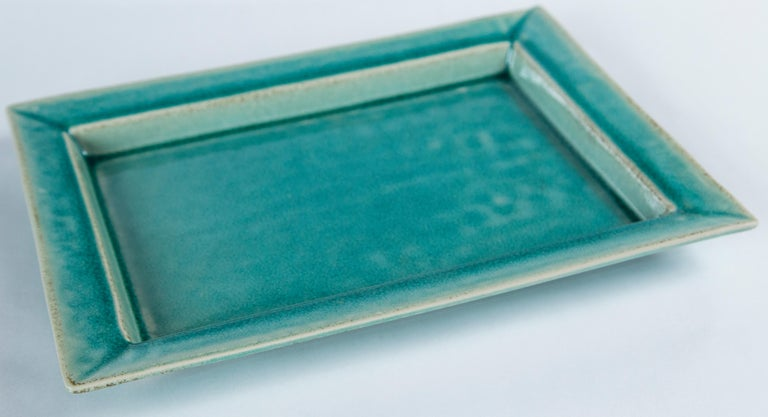 Mid-Century Modern Vintage Crackle-Glaze Ceramic Tray, by Jars, France, Mid-20th Century For Sale