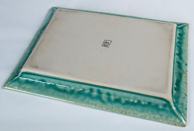 Vintage Crackle-Glaze Ceramic Tray, by Jars, France, Mid-20th Century For Sale 3