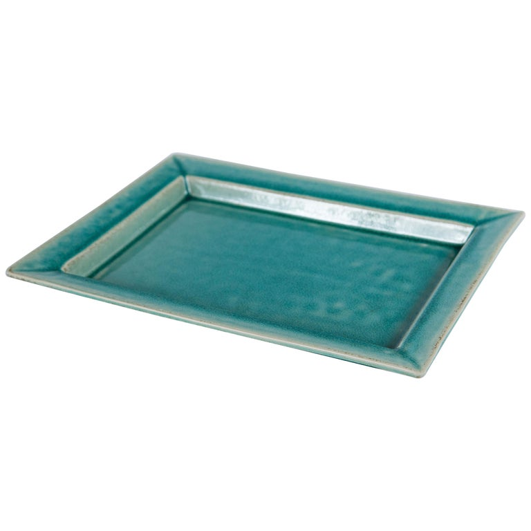 Vintage Crackle-Glaze Ceramic Tray, by Jars, France, Mid-20th Century For Sale