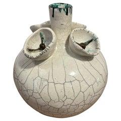 Vintage Crackled Style Ceramic Vase 'Signed'