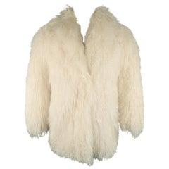 Vintage Cream Mongolian Lamb Fur Oversized Collared Coat / Jacket