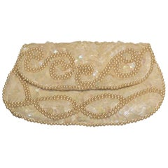 Vintage Cream Purse in Sequin and Beads