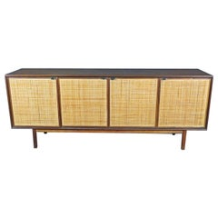 Vintage Credenza in Walnut and Cane