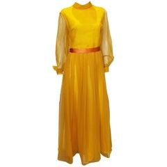Vintage Cresta Mustard Colour Gown