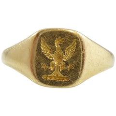 Vintage Crested Gold Signet Ring, 18 Carat Yellow, Hallmarked Birmingham, 1932