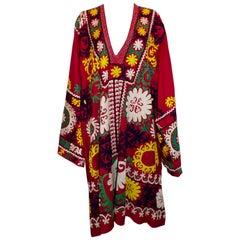 Vintage Crimson  Embroidered Kaftan.