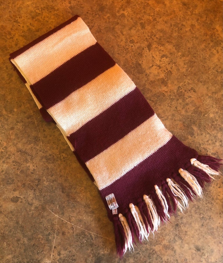 Vintage Crimson & White Harvard University Scarf / Muffler by J. August Company In Good Condition For Sale In San Diego, CA