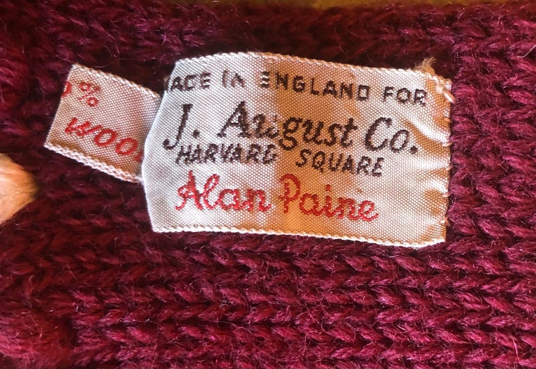 Wool Vintage Crimson & White Harvard University Scarf / Muffler by J. August Company For Sale