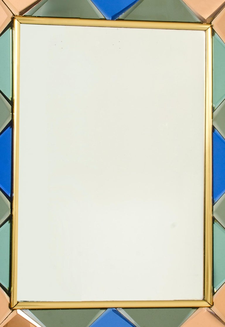 Italian Vintage Cristal Art Mirror, 1960s For Sale