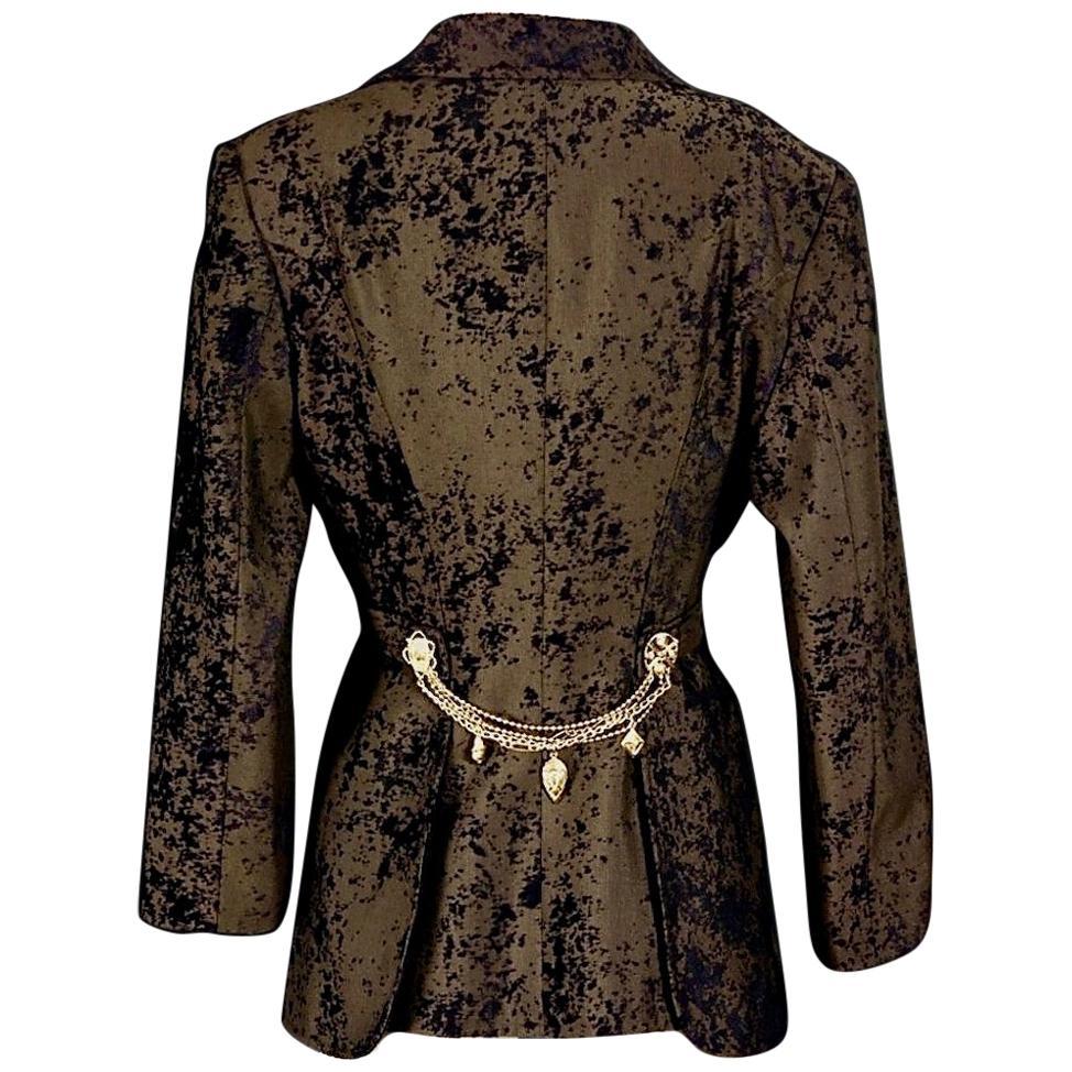 Vintage CRISTIAN LACROIX Jeweled Burnout Velvet Blazer Jacket