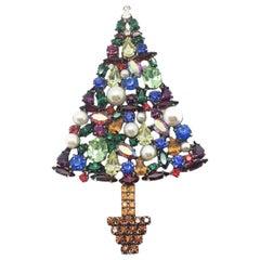 Vintage Cristobal Large Crystal Christmas Tree Brooch